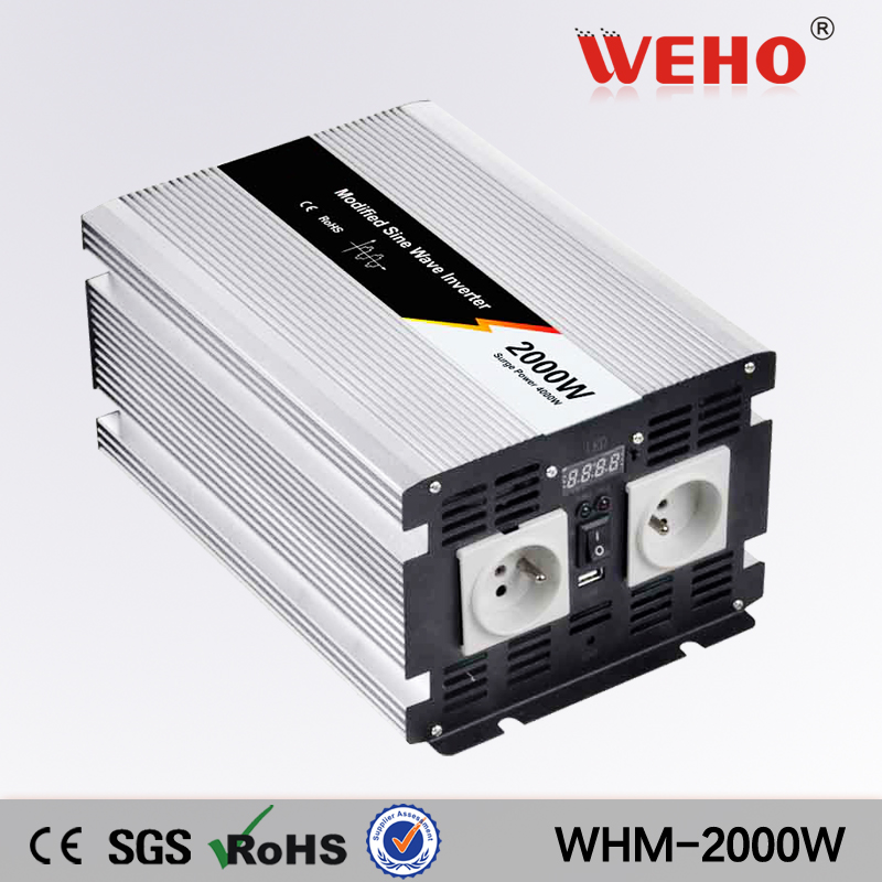 цена на (WHM-2000-122)2017 Hot sale 12vdc to 220vac Modified sine wave 2000w dc to ac power inverter