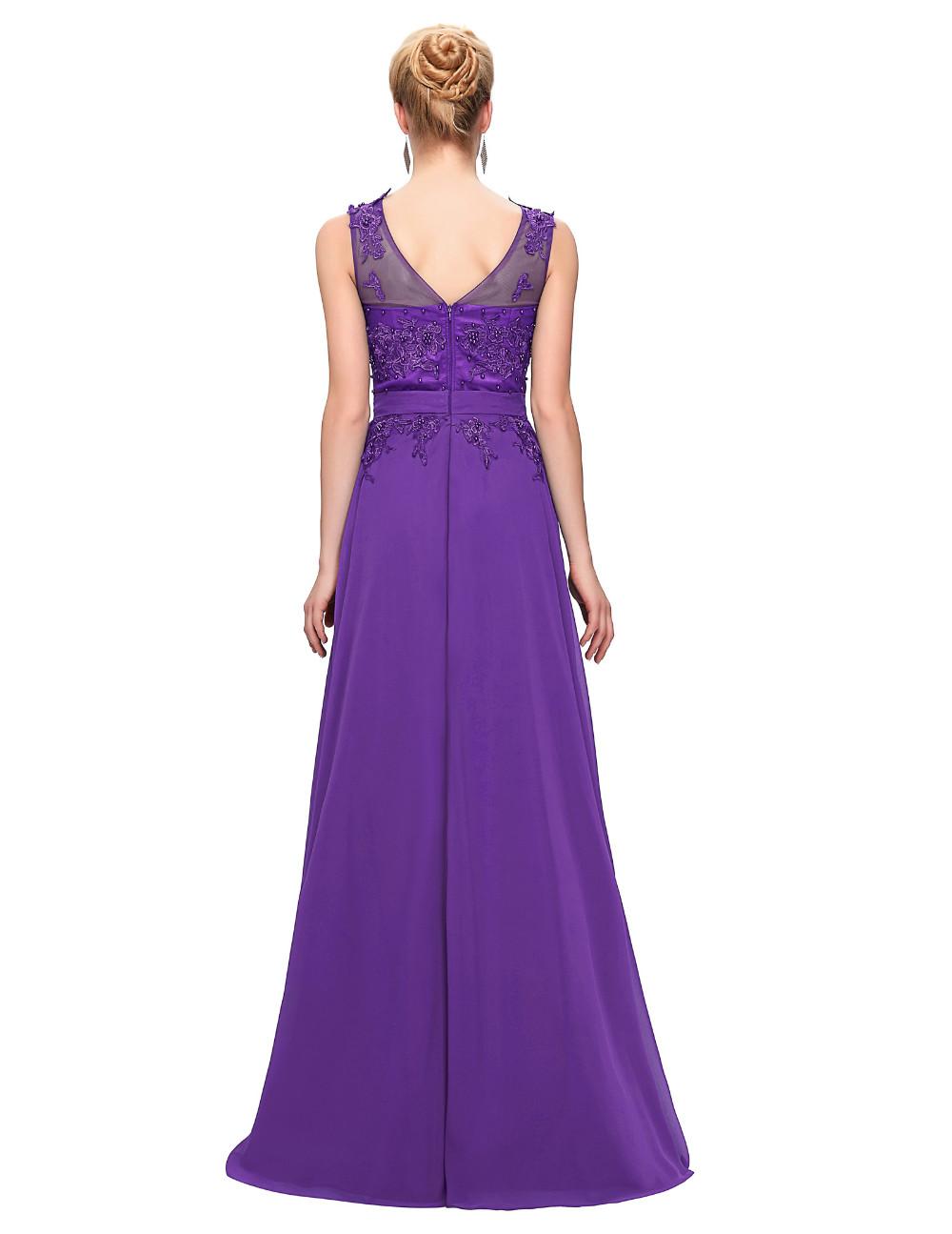 Grace Karin Elegant Long Evening Dresses 2016 Chiffon Pink Purple Red Royal Blue Black Formal Evening Dress Gown Abendkleider 34
