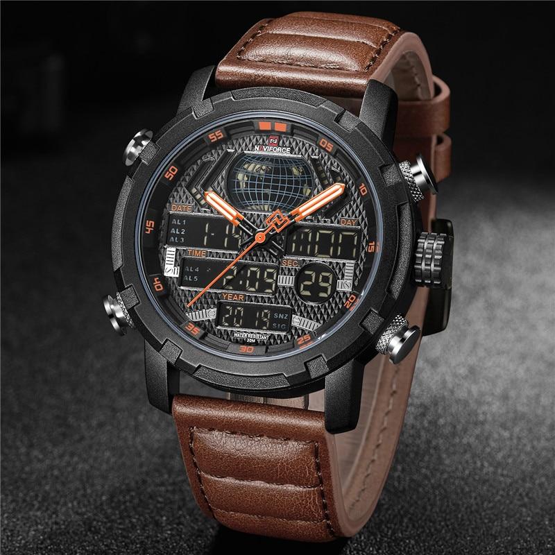 Image 2 - NAVIFORCE Watch Men Top Brand Luxury Digital Analog Sport Wristwatch Military Genuine Leather Male Clock Relogio Masculino 9160-in Quartz Watches from Watches