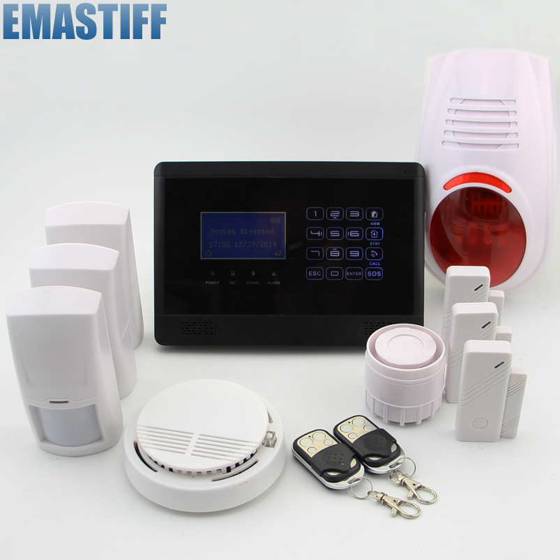 Wireless GSM SMS TEXT Touch Keypad Home House Alarm System Emergency Panic 850/900/1800/1900MHz,Outdoor Siren+Fire/Smoke sensor yl 007m2g touch keypad gsm sms wireless home security burglar alarm system rfid access control 850 900 1800 1900mhz 433mhz