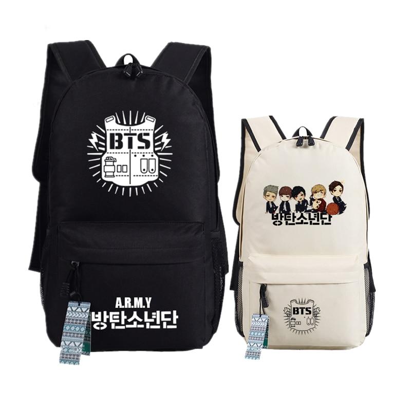 New BTS Bangtan Boys Printing School font b Backpack b font WINGS Canvas font b Backpacks