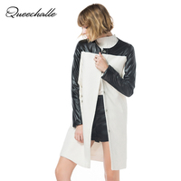 Queechalle 2019 Autumn Winter Woman Coat Female Black Pu Leather Patchwork Long Wool Coats White color Outerwear