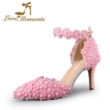 Love Moments Women Pumps Pointy Toe Ankle Strap Womens High Heels shoes Cocktail Party shoes Pink