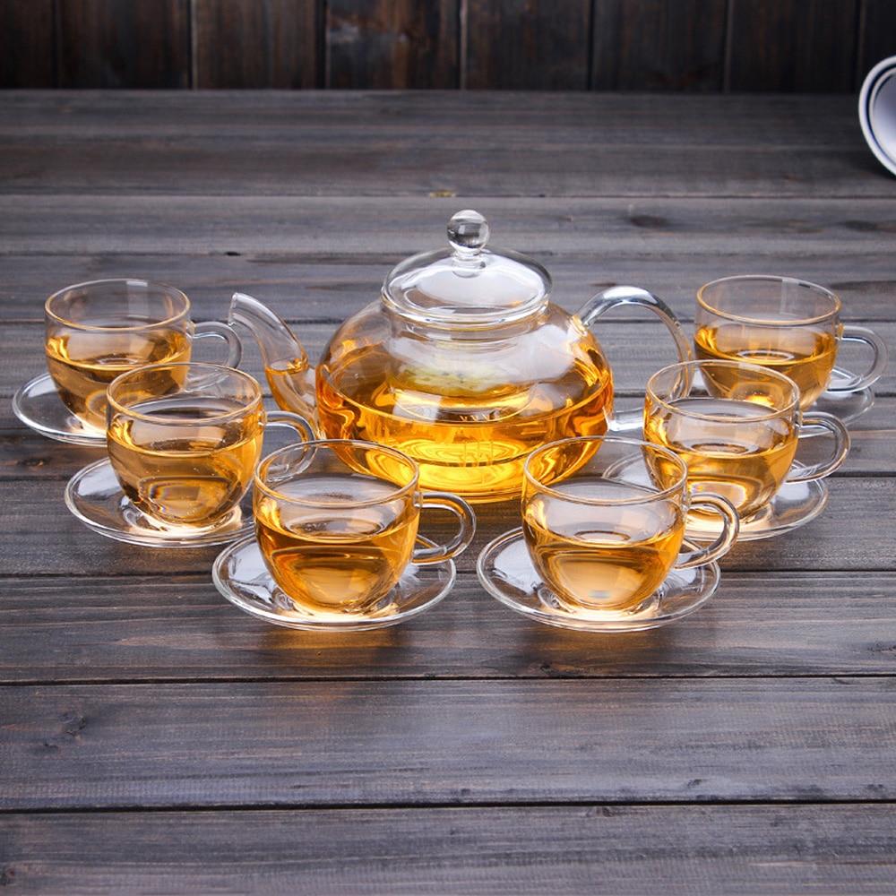 600ml/800ml/1000ml Transparent Pyrex Glass Tea Set Flower Teapot High Temperature Glass Kettle