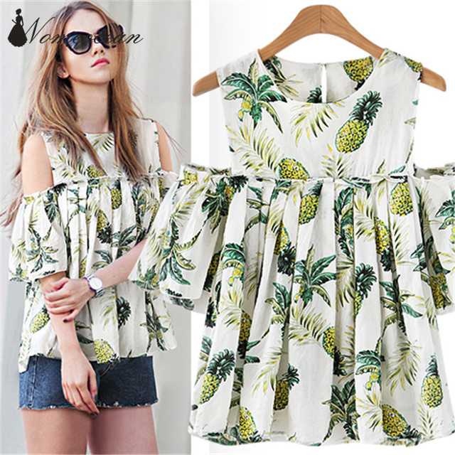 bf5bb7ba8dc Pineapple Floral Print Plus Size Blouses Cold Shoulder Cut Out OL Shirts  XL-5XL Oversized Short Sleeve Blouse Shirt M18010518
