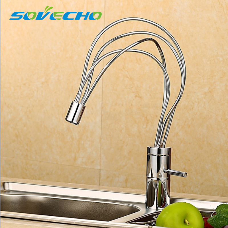 SOVECHO personality Brushed Solid Brass Kitchen Faucet With Hot & Cold Switch Kitchen L0628