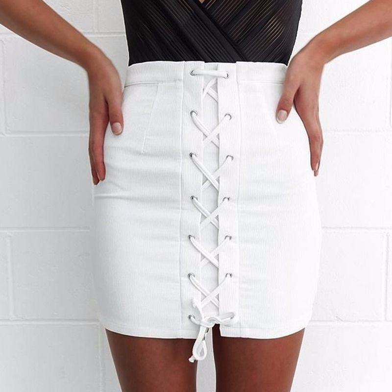 Women's Bandage Button Up Washed Denim Straight Skirt High Waist White Mini Short Skirts Tie Lace up