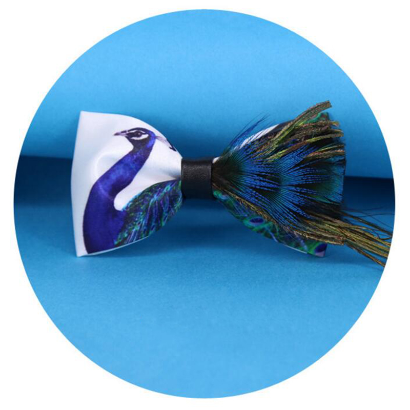 RBOCOTT Men's Bow Tie Fashion Novelty Feather Bowtie Printed Blue Peacock Bow Ties For Men Wedding Party Gift Groom Accessories