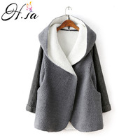H.SA 2018 Women Winter Long Jacket Thick Warm Cashmere Hooded Cardigans Sweater Poncho Knit Coat Cotton liner Sweater Jumpers