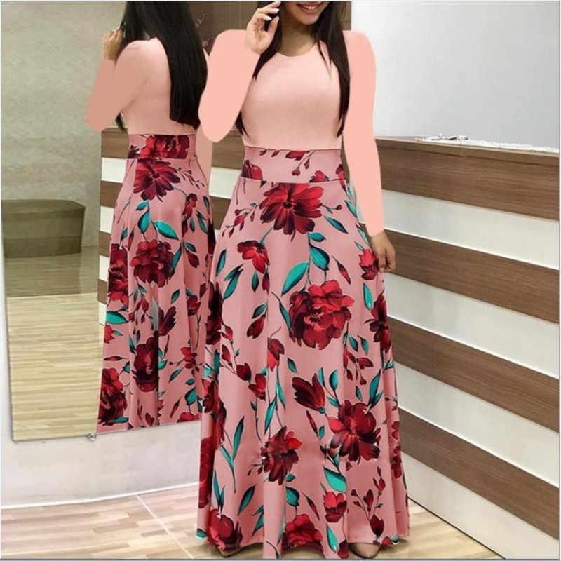 ฤดูใบไม้ผลิฤดูใบไม้ร่วงผู้หญิงชุด 2019 สบายๆแขนยาว O-Neck Patchwork ชุดเดรสแฟชั่น VINTAGE พิมพ์ Maxi ชุด Vestidos