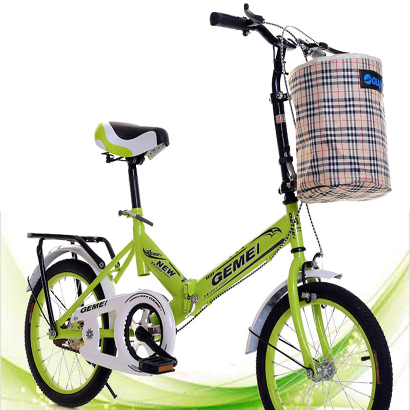 16-Inch Folding Bicycle Rear Brake White Red Blue Green Light Sports & Entertainment Cycling Bicycle