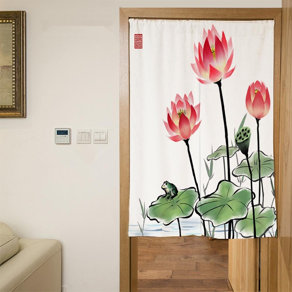 Senisaihon Polyester Door Curtains Chinese Green Lotus