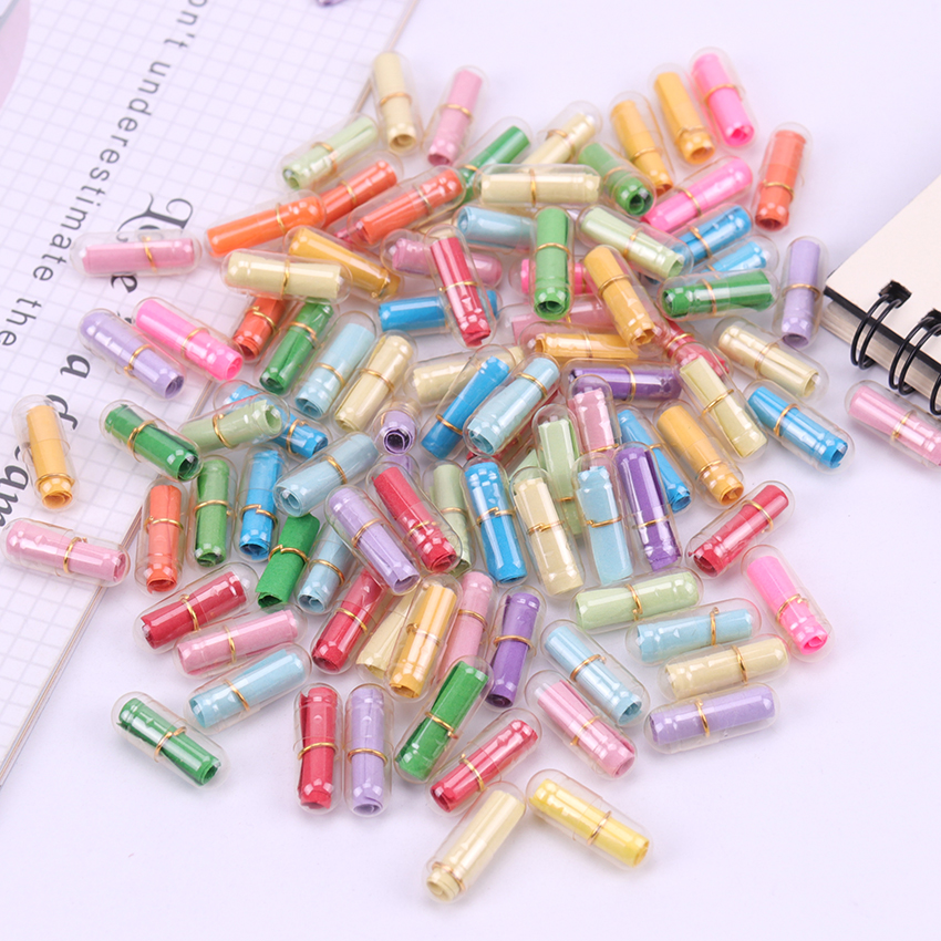 50 PCS/Lot Kawaii Mini Transparent Wishing Pills Love Blank Message Capsule Envelope Letter Paper Student Writing Paper