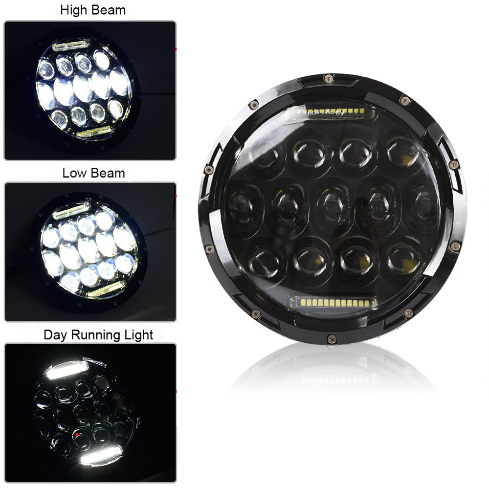 2pcs 75W 7 Led Headlight H4 H13 High Low Beam Round Cars Running Lights for Jeep