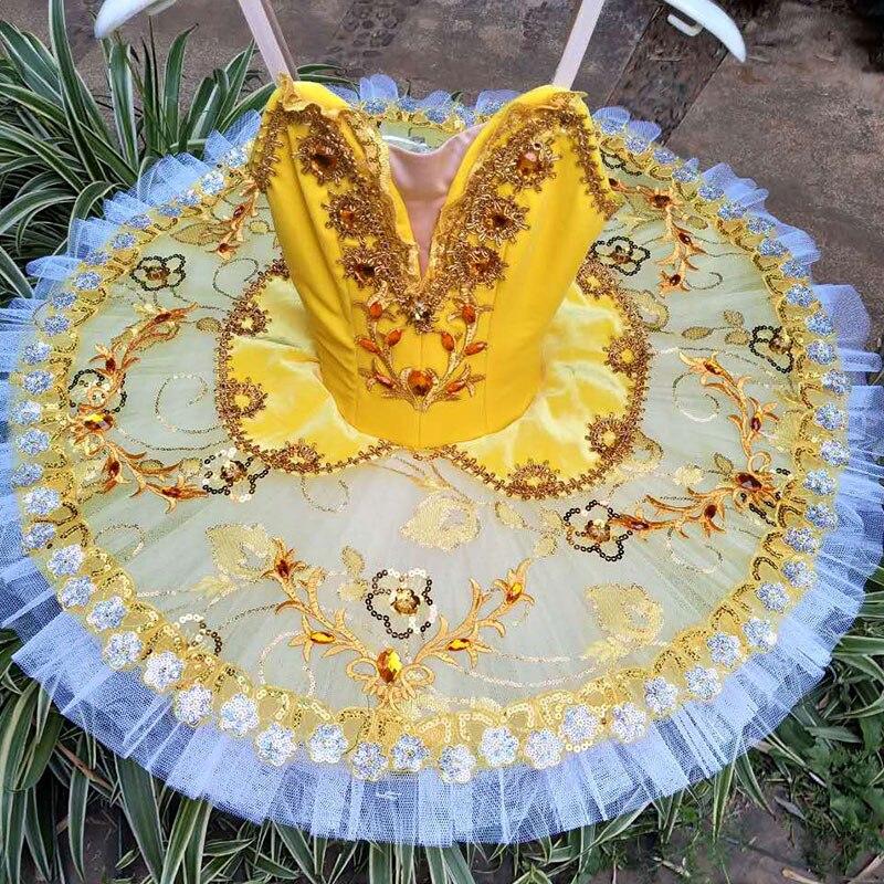 New Arrival Yellow Velvet Bodice Professional Ballet Dance Tutu Women & Girl Ballerina Dance Costumes Tutu Customer Size Made