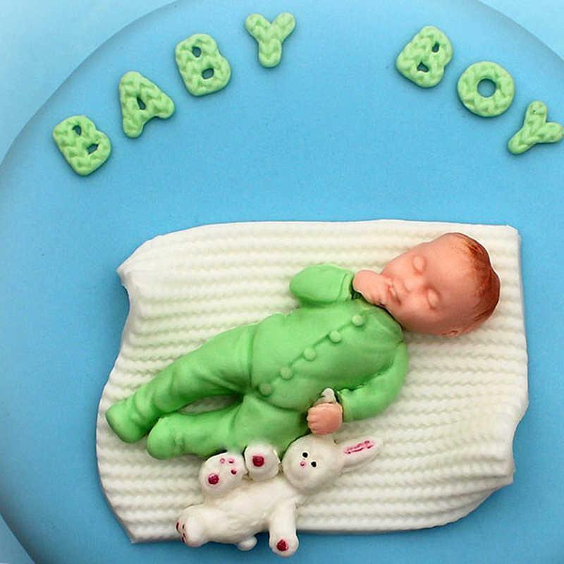 1 PC 3D niño niña molde de silicona para pastel de fiesta de bebé Fondant para decoración de pasteles herramientas Cupcake Chocolate para hornear moldes