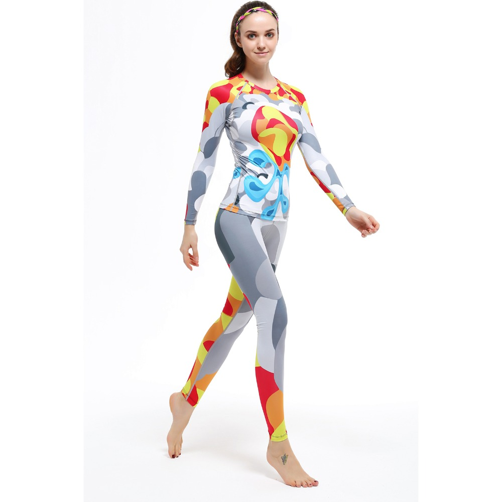 Women Breathable Tights Set Gym Sports High Quality Clothing Long Sleeve Base Layers Running Fitness Cycling Suit
