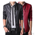 Free Shipping 2016 Men Brand Motorcycle PU Leather Jackets autumn Mens Fur Coat Biker Jacket .Men's Leather Jacket