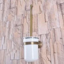 Montaje en la pared Retro Vintage latón antiguo baño cepillo soporte Set baño accesorio simple Taza de cerámica mba734