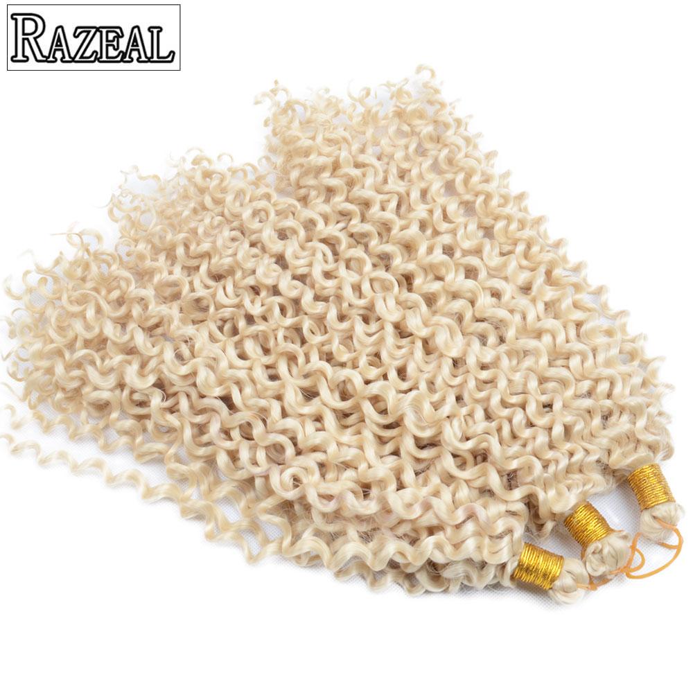 3 PCS Crochet Braids თმის ვარცხნილობა წყლის ტალღა მაღალი ტემპერატურა ბოჭკოვანი Razeal ქერა braiding სინთეზური თმის გაფართოება