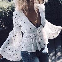 BEFORW 2018 Summer Women Polka Dot Print Blouse Shirts Sexy Deep V Neck Flare Long Sleeve