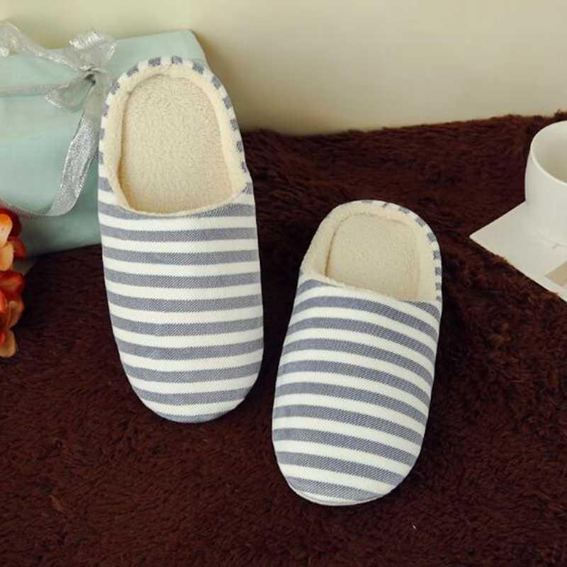 Griseaby Kış ev Terlik kadın çizgili terlik yumuşak kapalı çiftler ev ayakkabıları Kat terlik slaytlar pantunflas mujer F475