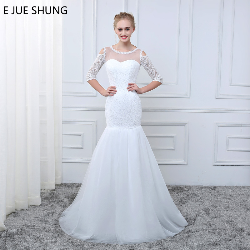 Cheap 3 4 Sleeve Wedding Dresses: E JUE SHUNG 2018 White Lace Off The Shoulder Mermaid
