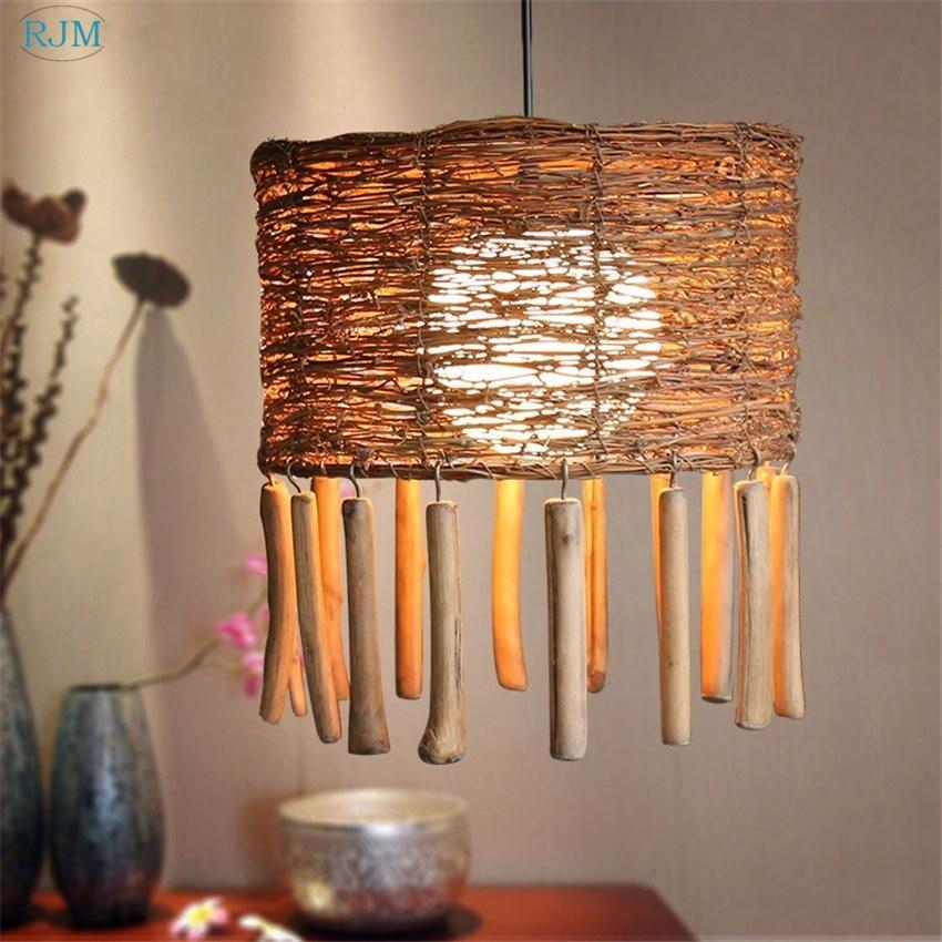 Creative Rattan Bamboo Handmade Pendant Lights Retro Tassels Hang Lamps for Restaurant Living Room Cafe Dining Room Lighting Pendant Lights    - title=