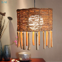 Creative Rattan Bamboo Handmade Pendant Lights Retro Tassels Hang Lamps for Restaurant Living Room Cafe Dining Room Lighting