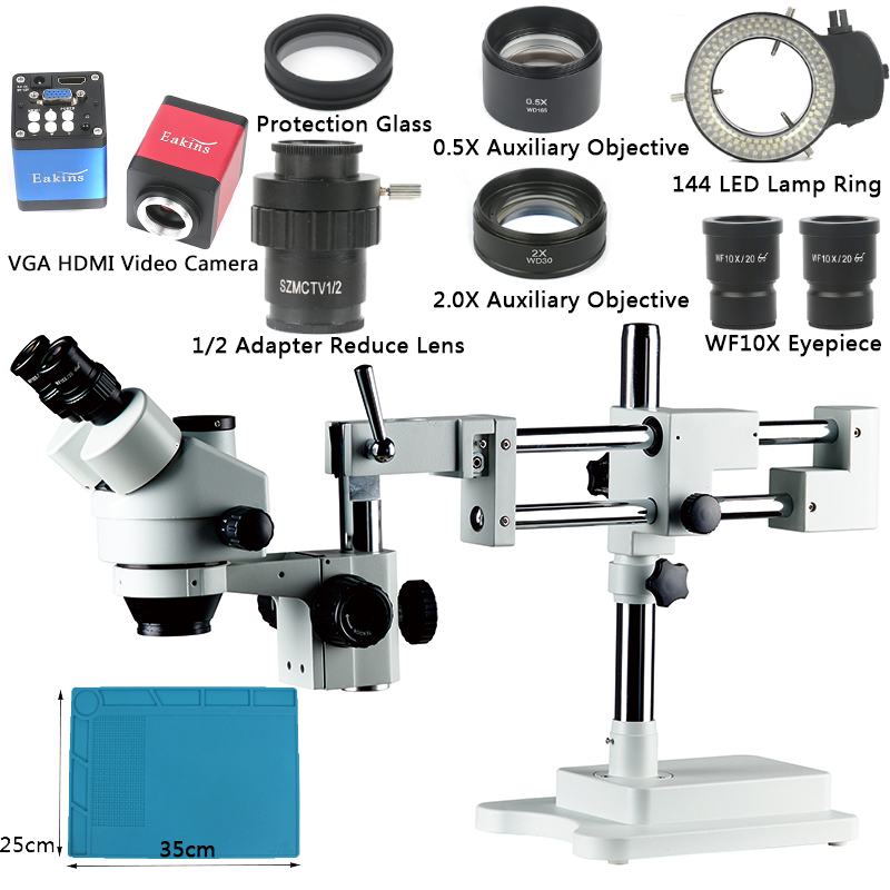 Boom Stand Simul-Brenn 3.5X-90X Zoom Mikroskop Set + 14MP HDMI VGA Kamera + 144 LED Licht für Schmuck Inspektion PCB Löten