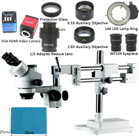 Boom Stand Simul Focal 3.5X 90X Zoom Microscope Set + 14MP HDMI VGA Camera + 144 LED Light For Jewelry Inspection PCB Soldering