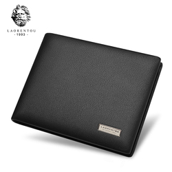 Laorentou Men Wallets Genuine Leather Short Wallets Casual Men Cow Leather Wallet Purse Card Holders Photos Holder Wallets