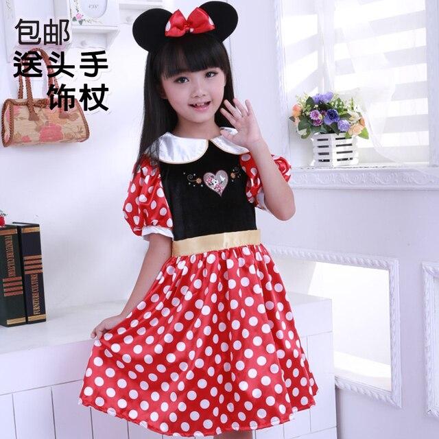 Venta caliente Minnie niñas Vestidos imprimir Cosplay Vestidos ...