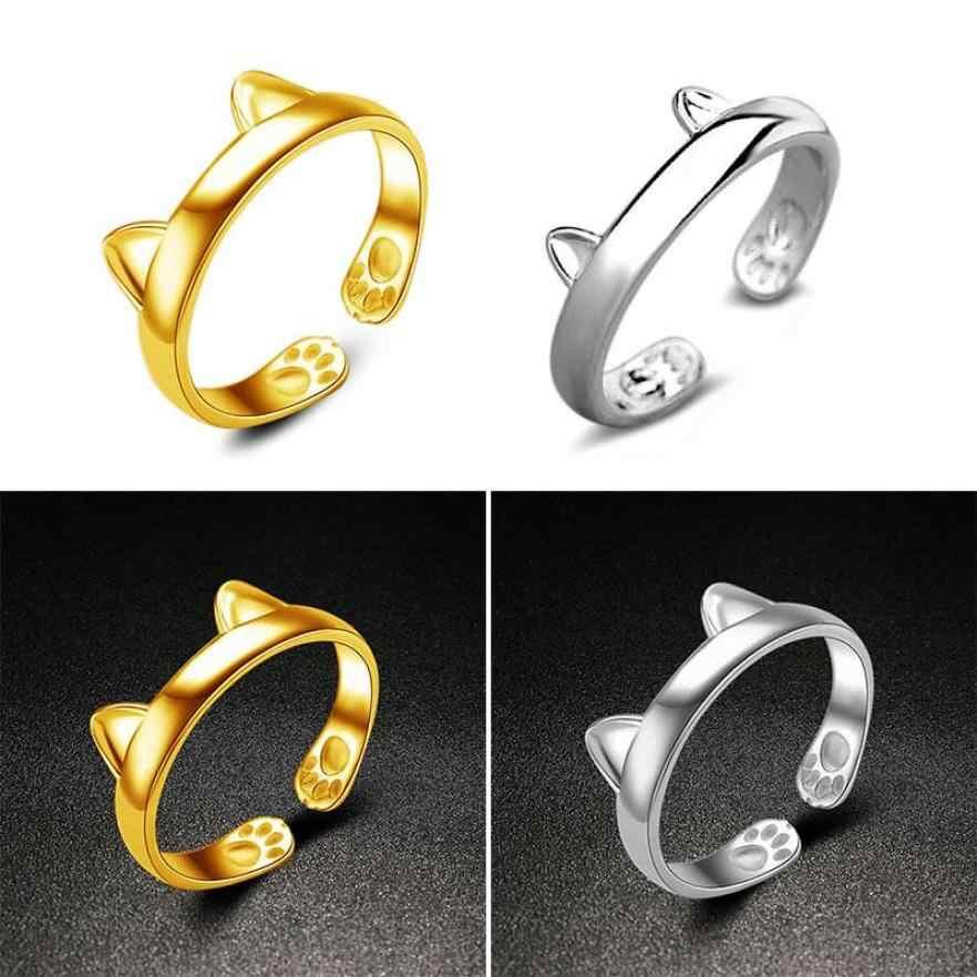 Fancinating เงินแมวหูแหวนแหวนปรับสัตว์เลี้ยงเครื่องประดับเครื่องประดับแหวน Anillos Gothic Bague Femme