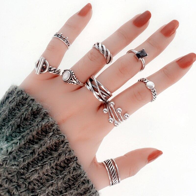 925 Anel de Prata Coroa Do Amor Do Vintage Jóias Charme Bohemia Minimalismo Presente de Aniversário Anéis Anillos Bague Femme Haut Femme para As Mulheres