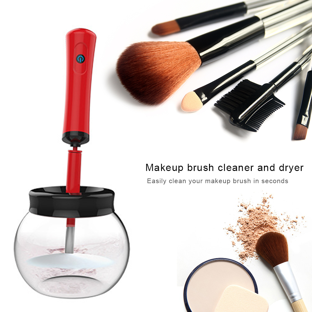 Drop Ship 12pcs/set Electric Quick-drying Automatic Makeup Brush Cleaner Tool Washing Cleanser Cleaning Machine Spinning Tool