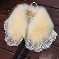Elegant Lace Faux Fur Collar Scarf Coat Warm Wrap Fake Neck Ring Winter Fox Rabbit Fur Cape Clothing Accessory Shawl Scarves
