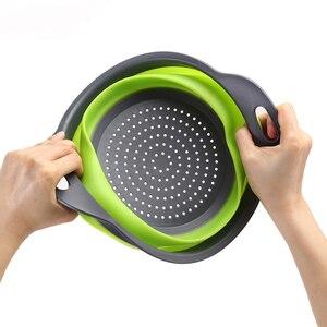 Image 3 - Silikon Faltbare Sieb Gemüse Obst Waschen Ablassen Sieb Korb Sieb Faltbare Sieb Mit Griff Küche Werkzeuge