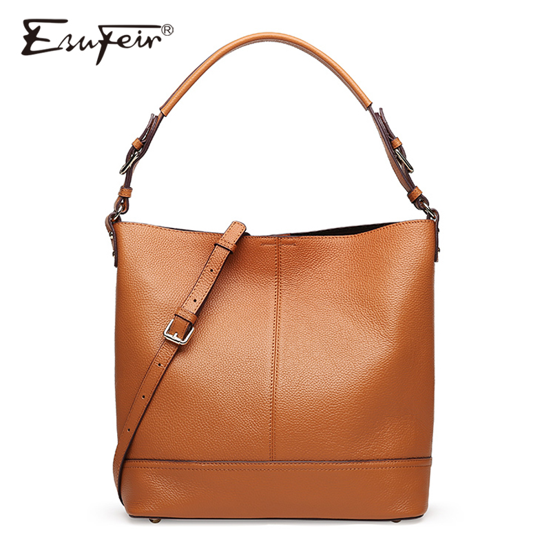 ESUFEIR Brand Genuine Leather Handbag for Women Fashion Casual Tote Bags Famous Design Women Crossbody Bag Female Shoulder Bag 2017 esufeir brand genuine leather women handbag fashion shoulder bag solid cowhide composite bag large capacity casual tote bag