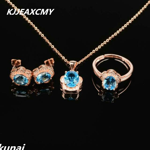 KJJEAXCMY Colorful jewelry Multicolored jewelry 925 silver inlay natural Topaz Blue Suit female models рюкзак madpax rex 2 half light blue multicolored kab24485083 225874