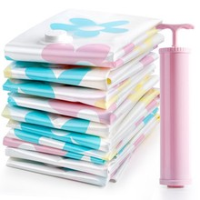 11pcs/set Thickened Vacuum Compressed Storage Bag with Hand Pump Space-Save Quilt Cloths Blanket Storage Bags Closet Organizers