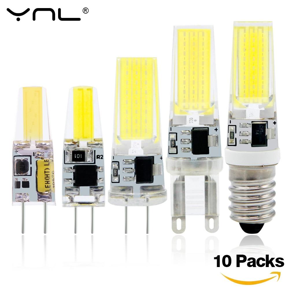 10Pcs Lampada LED Light Bulb G4 G9 E14 COB AC DC 12V & 220V Bombillas LED Lamp Lighting replace Halogen Spotlight Chandelier