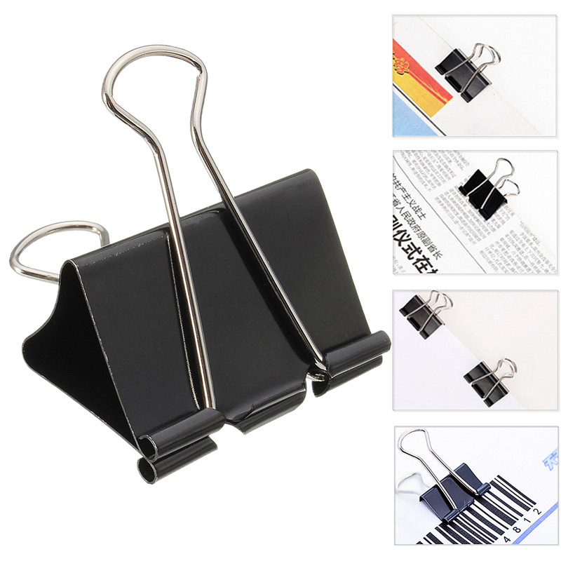 12PCS/Set 19mm Foldback Metal Clips Removable Filing Fold Back Color Clamps School Office Binding Supplies