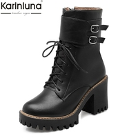 Karinluna 2018 Big Size 34 43 Paltform Fashion Belt Buckle Women Shoes Woman high Heels Leisure Lace Up Boots Women Ankle Boots