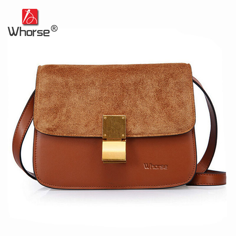 [WHORSE] New Arrive Women Messenger Bags Vintage Genuine Scrub Leather Ladies Shoulder CrossBody Bag Small With Lock W08480 bolish new arrive knitting retro clip women s handbag vintage women messenger bag fashion women crossbody bag