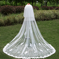 Luxury White 3 Meters Long Bridal Veil With Comb Soft Tulle Lace Edge Cathedral Bridal Wedding Veil Wedding Accessories 2017