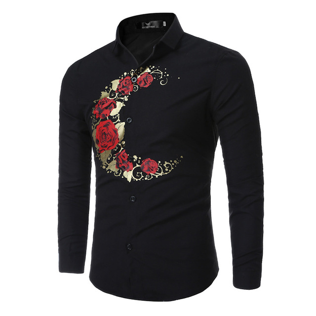 f7f10f311 Mens Floral Print Shirt Men s Fashion Personality Chemise Homme Marque Luxe  Plus Size Men African Clothes