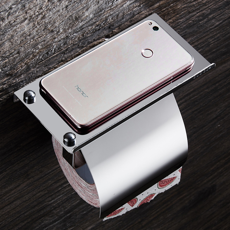 Paper Towel Holder Stainless Steel Toilet Paper Holder with Shelf Phone Storage Wall Mount Creative Bathroom Roll Holder