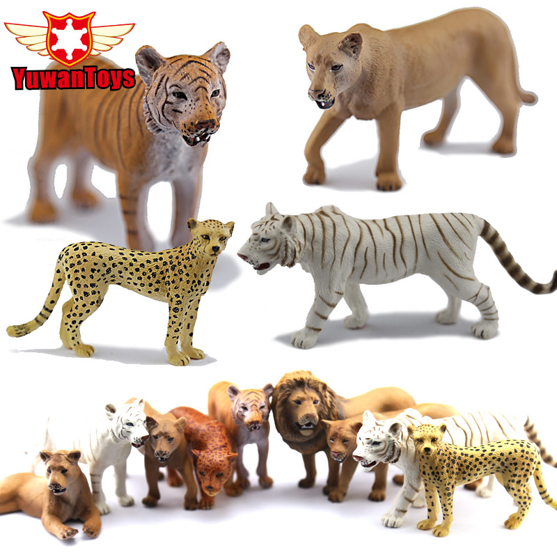 Collectible Toys Very Realistic Wild Animal Family Paradise Model Series Lion Tiger Cheetah PVC Toys Children Educational Props