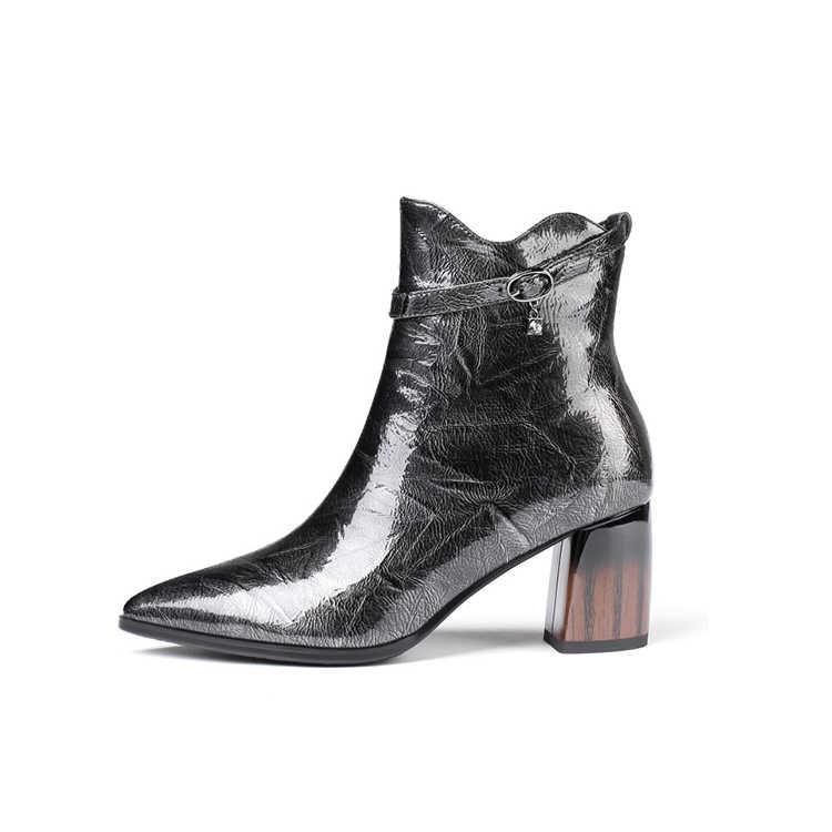 MLJUESE 2020 kadın yarım çizmeler patent deri toka kayış sivri burun kış kısa peluş yüksek topuklu kadın çizmeler boyutu 42 parti